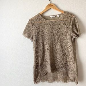 NY&C | Tan Lace Top